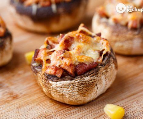 Champiñones rellenos de jamón y queso al horno. Receta fácil y barata