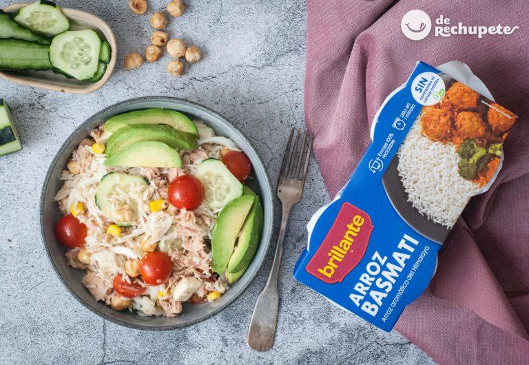 Ensalada arroz basmati con atún. Receta sencilla, fresca, saciante y deliciosa