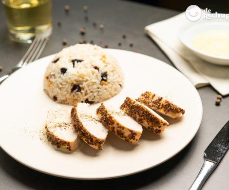 Pechuga de pavo asada con miel y mostaza con arroz basmati